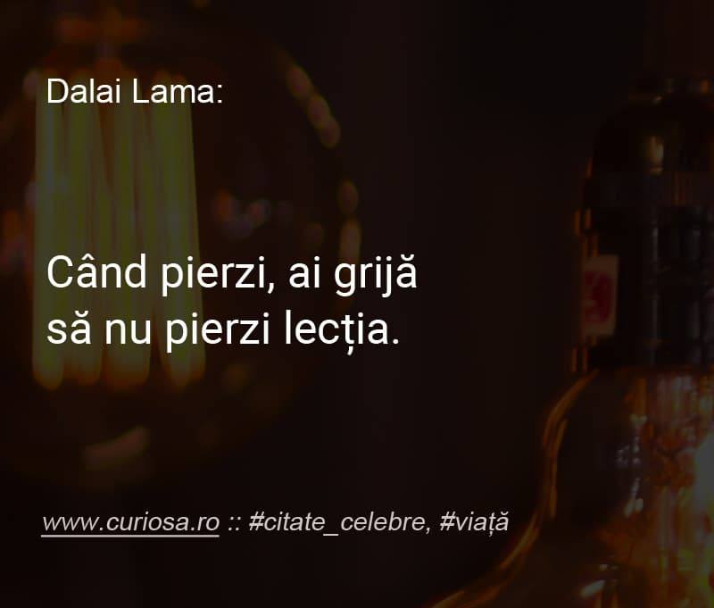ai pierdut invata lectia citate celebre Dalai Lama