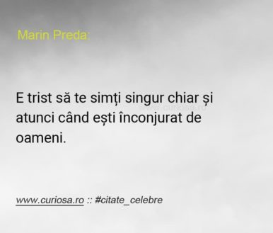 singuri printre oameni citat Marin Preda